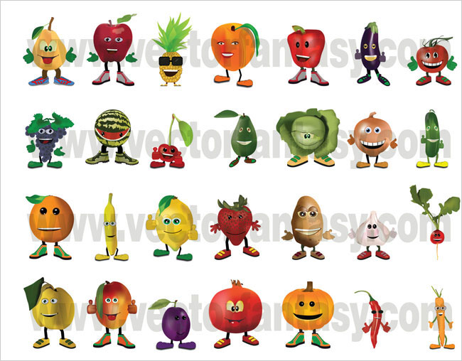 fruits vegetables characters 50000 Photoshop Gradients