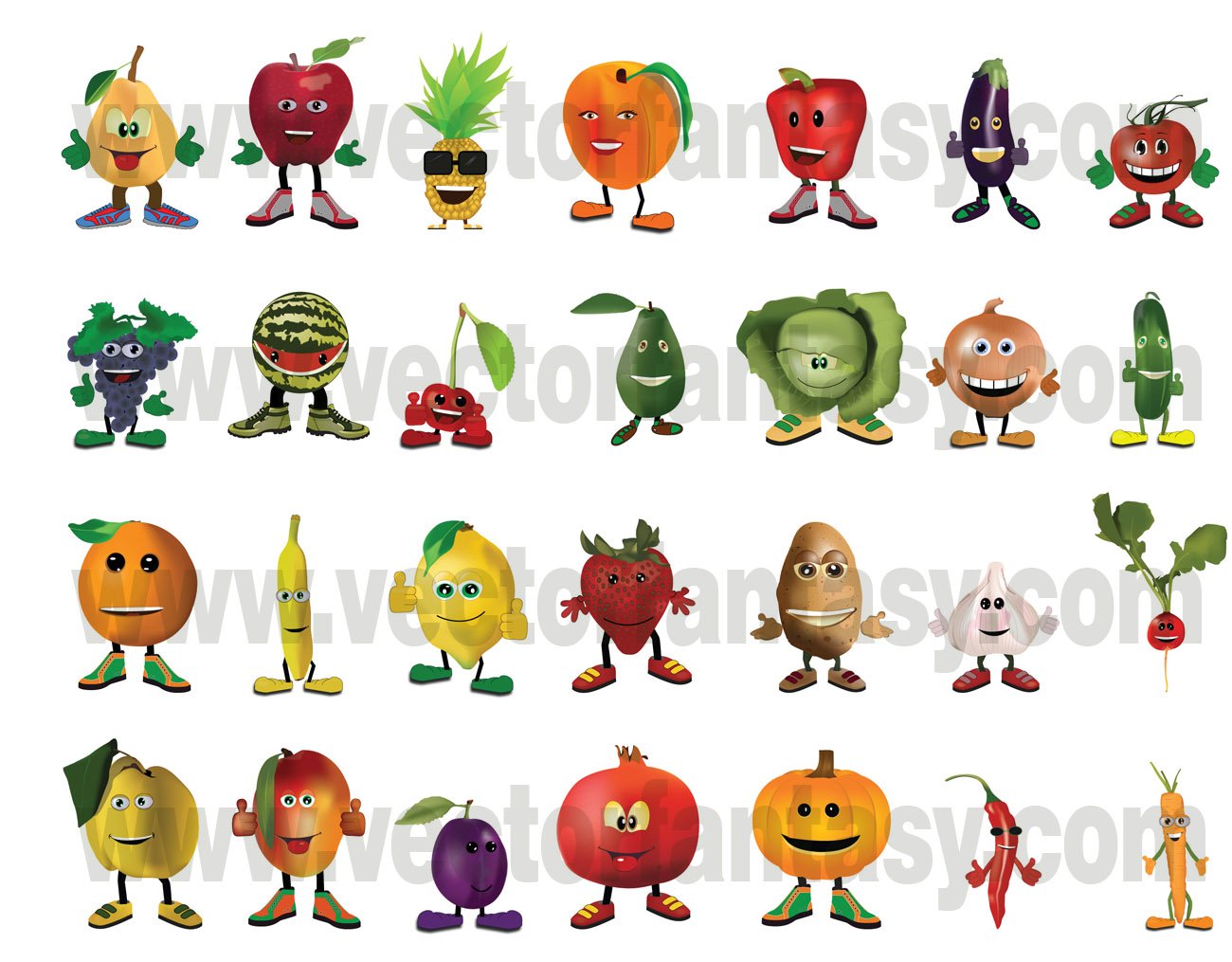 Vegetable characters vector