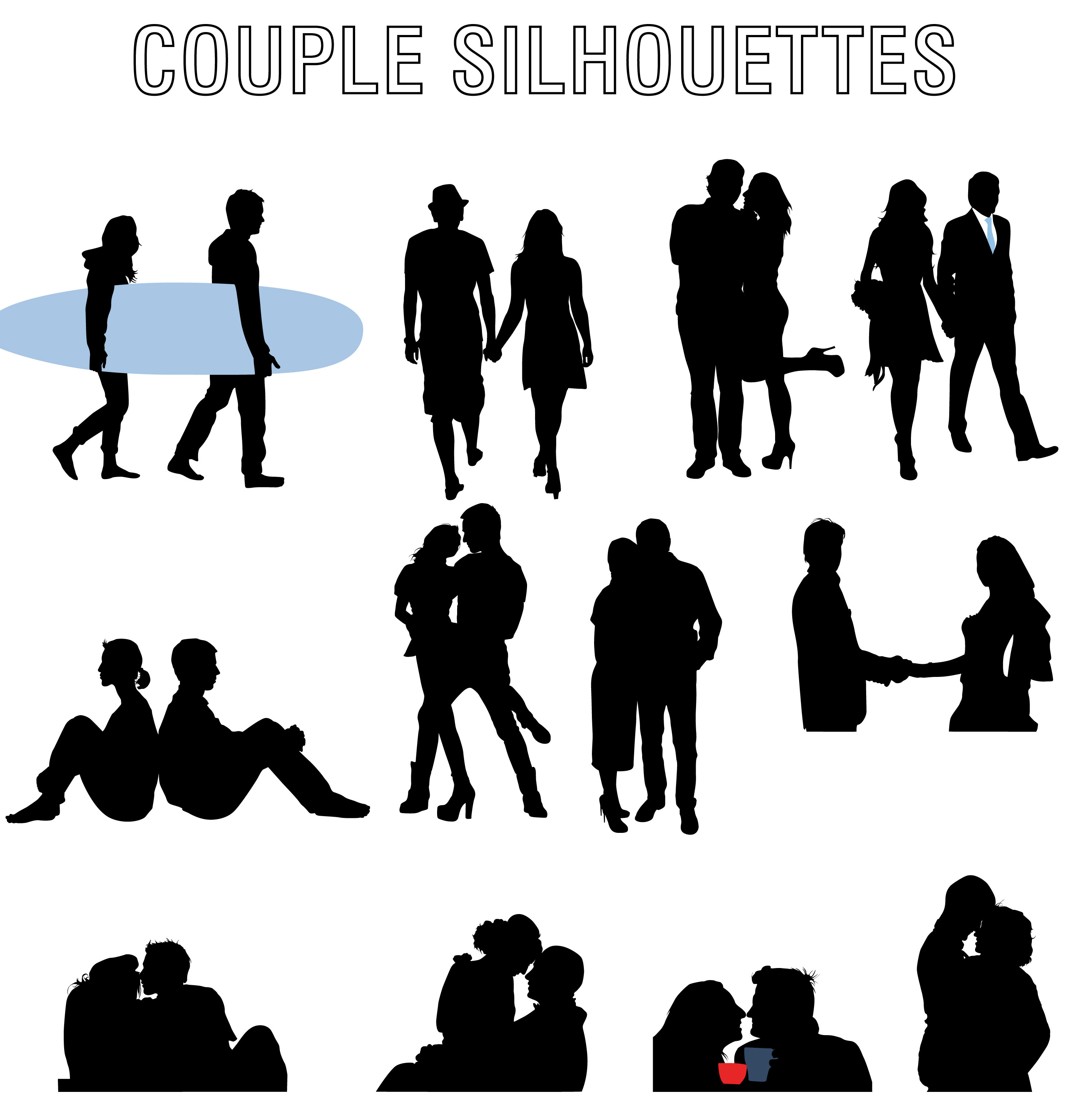 download romantic couple vector silhouettes
