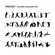 Cricket Players- Vector Silhouettes Set