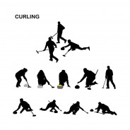 Curling Players –Vector Silhouettes