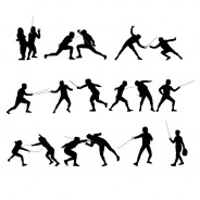 Fencing Vector Silhouettes Set