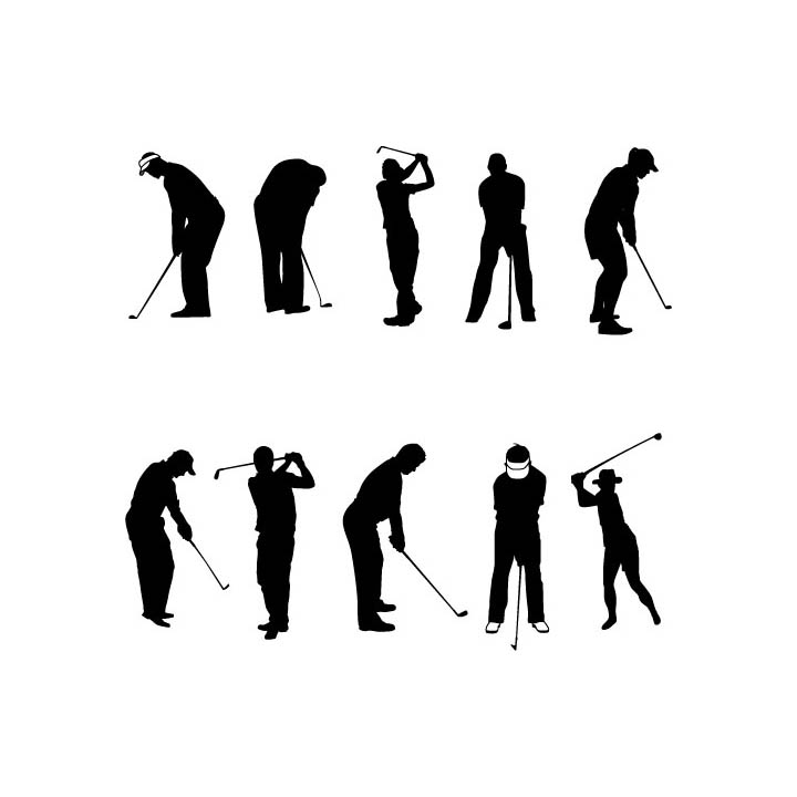 Golf Players Freevector Silhouettes Set Www Vectorfantasy Com