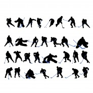 Set Of Hokey Players Vector Silhouettes
