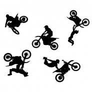 Freestyle Motocross Silhouettes Vector