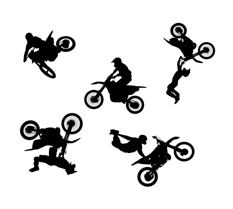 Freestyle Motocross Silhouettes Vector | www.vectorfantasy.com