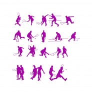 Squash Players Vector Silhouettes