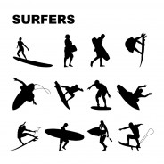 Surfers Silhouettes Vector