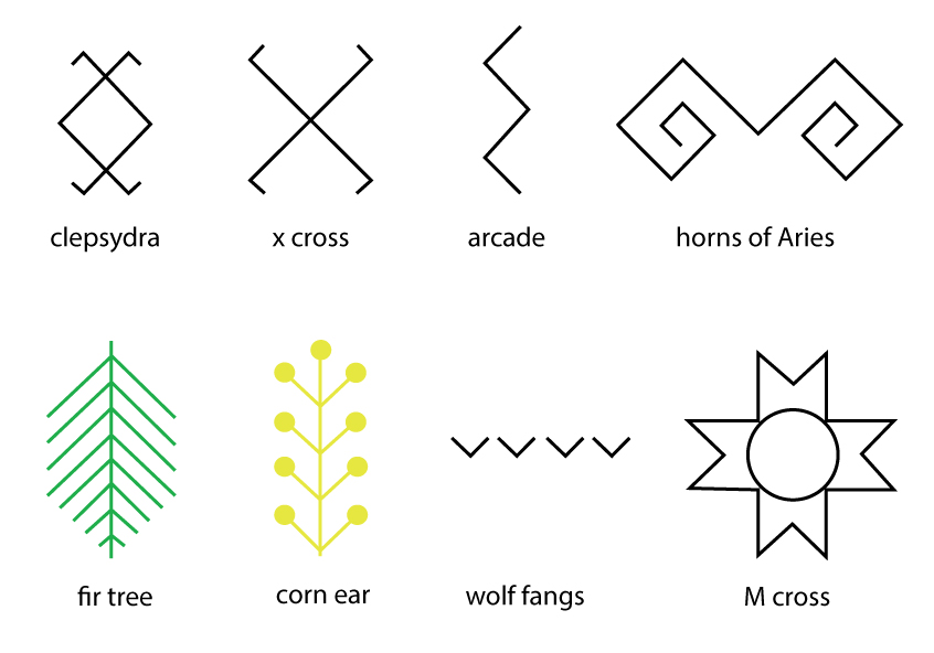 ... Seamless Geometric Patterns Inspired By Traditional Motifs And Ancient  Symbols Like : Cross, X Cross, Arcade, Corn Ear, Fir Tree, Wolf Fangs,the  Cross ...